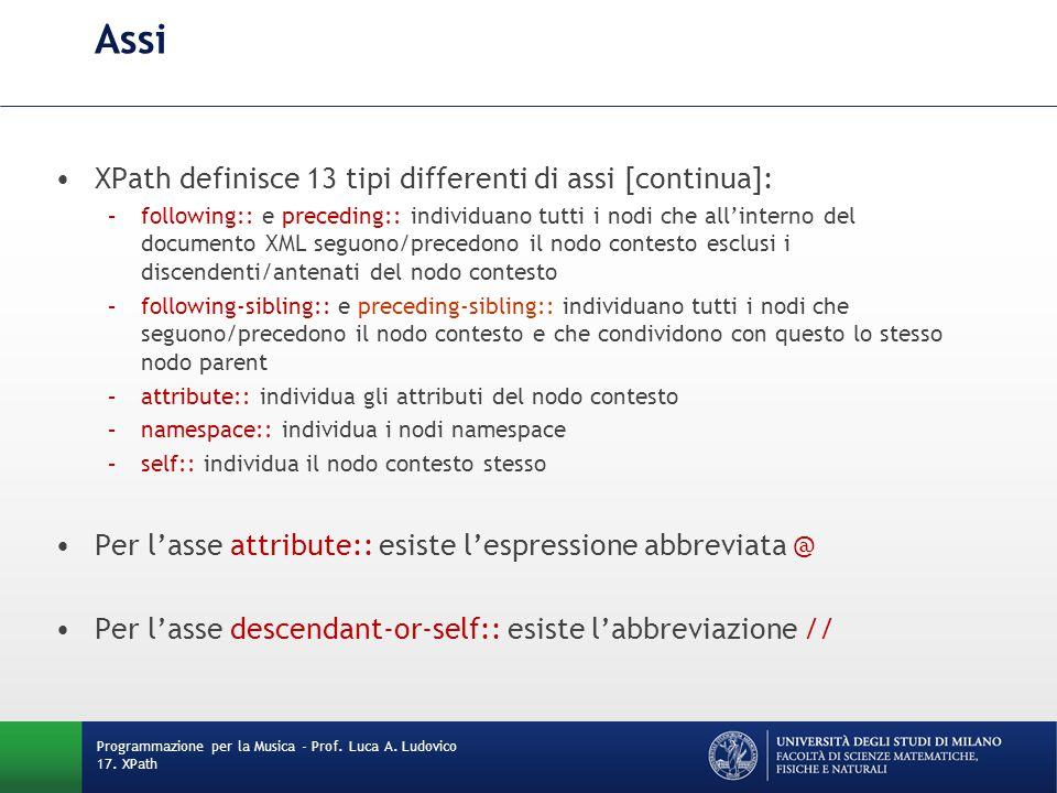Assi XPath definisce 13 tipi differenti di assi [continua]: